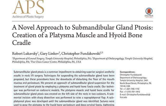 Screenshot of an academic paper: A Novel Approach to Submandibular Gland Ptosis: Creation of a Platysma Muscle and Hyoid Bone Cradle