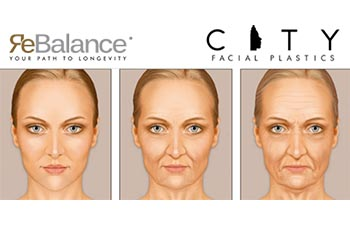 ReBalance - your path to longevity. Aging woman faces in three stages.