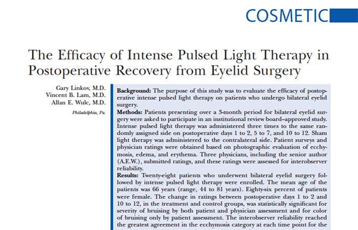 Screenshot of an article in Cosmetic paper: The Efficacy of Intense Pulsed Light Therapy in Postoperative Recovery from Eyelid Surgery