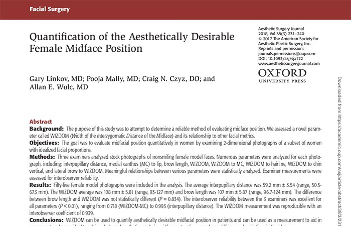 Screenshot of an article: Quantification of the Aesthetically Desirable Female Midface Position.