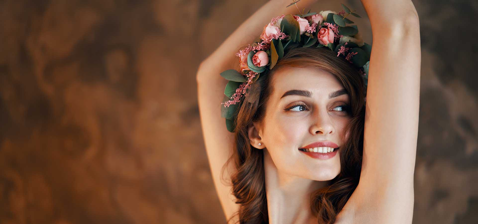 Young and beautiful. Happy smiling woman portrait.