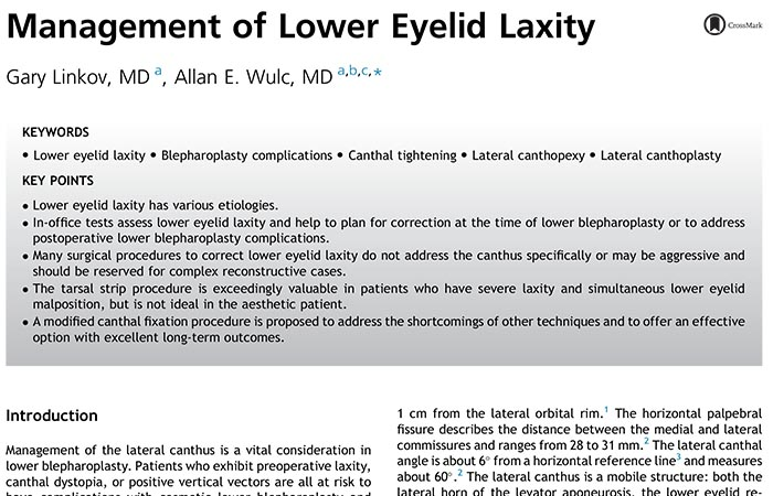 Screenshot of research paper: Management of Lower Eyelid Laxity.