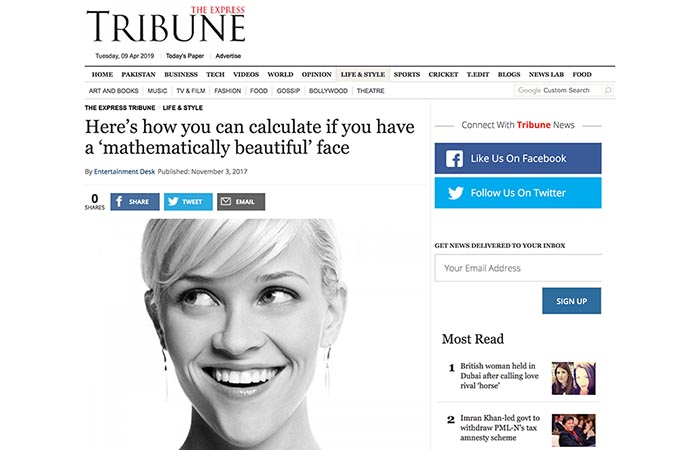 Screenshot of an article - Here's how you can calculate if you have a 'mathematically beautiful' face.