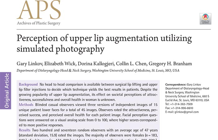 Screenshot of an article - Perception of upper lip augmentation utilizing simulated photography.