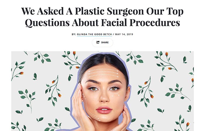Screenshot of Betches article - We Asked A Plastic Surgeon Our Top Questions About Facial Procedures
