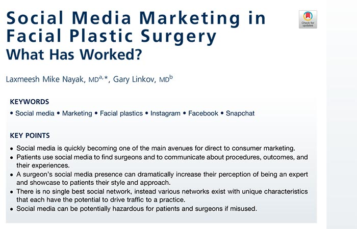 Screenshot of an article: Social Media Marketing in Facial Plastic Surgery