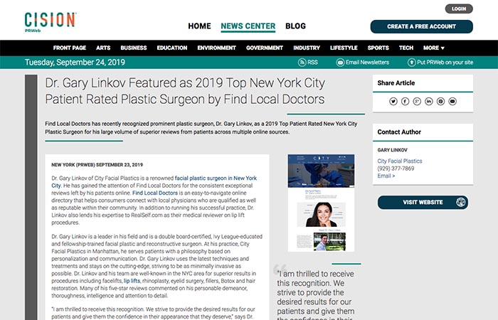 Screenshot of an article - Dr Gary Linkov Featured as 2019 Top New York City Patient Rated Plastic Surgeon by Find Local Doctors