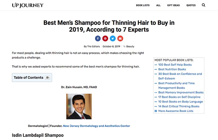 Screenshot of an article - Best Men's Shampoo for Thinning Hair (According to 7 Experts)