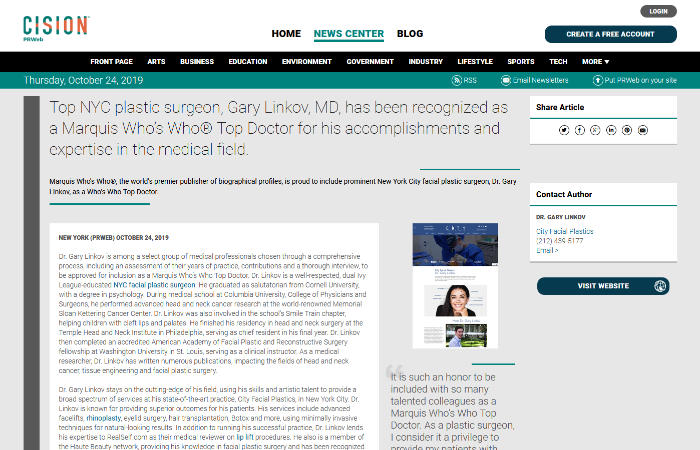 Screenshot of an article - Top NYC plastic surgeon, Gary Linkov, MD, has been recognized as a Marquis Who's Who® Top Doctor for his accomplishments and expertise in the medical field.