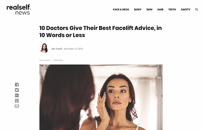 Screenshot of an article - 10 Doctors Give Their Best Facelift Advice, in 10 Words or Less