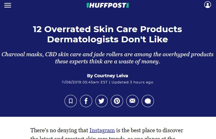 Screenshot of an article - 12 Overrated Skin Care Products Dermatologists Don't Like