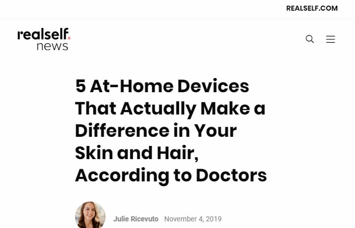Screenshot of an article - 5 At-Home Devices That Actually Make a Difference in Your Skin and Hair, According to Doctors