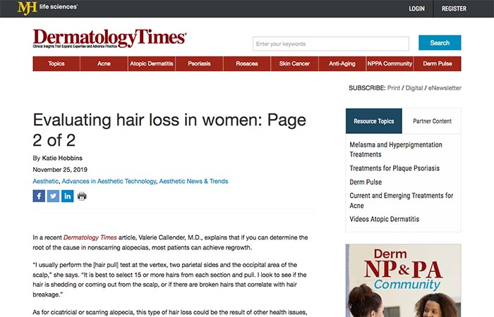 Screenshot of an article - Evaluating hair loss in women