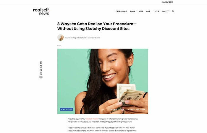 Screenshot of an article - 8 Ways to Get a Deal on Your Procedure—Without Using Sketchy Discount Sites