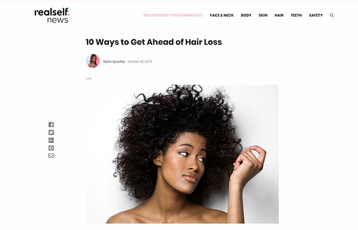 Screenshot of an article - 10 ways to get ahead of hair loss