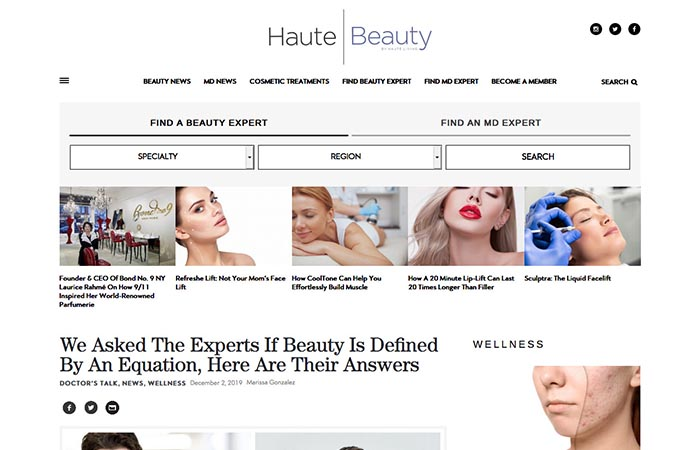 Screenshot of an article - We Asked The Experts If Beauty Is Defined By An Equation, Here Are Their Answers