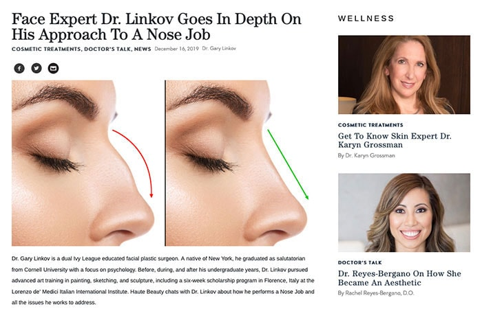 Screenshot of article: Face Expert Dr. Linkov Goes In Depth On His Approach To A Nose Job