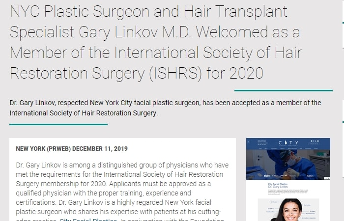 Screenshot of an article - NYC Plastic Surgeon and Hair Transplant Specialist Gary Linkov M.D. Welcomed as a Member of the International Society of Hair Restoration Surgery (ISHRS) for 2020