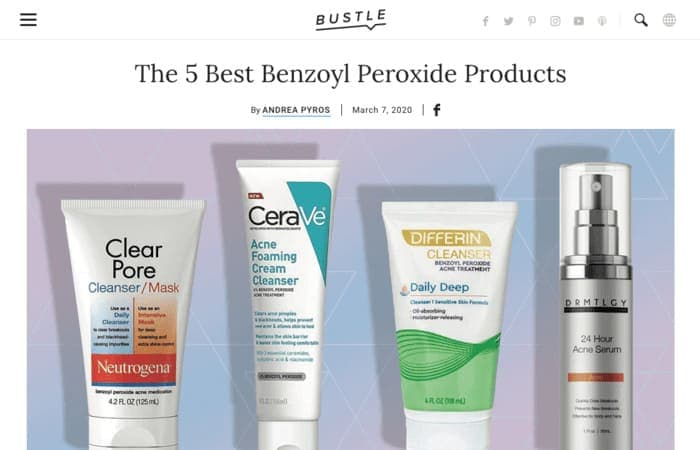 Screenshot of: The 5 Best Benzoyl Peroxide Products