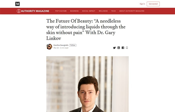 "Screenshot of article: The Future Of Beauty: ""A needleless way of introducing liquids through the skin without pain"" With Dr. Gary Linkov"